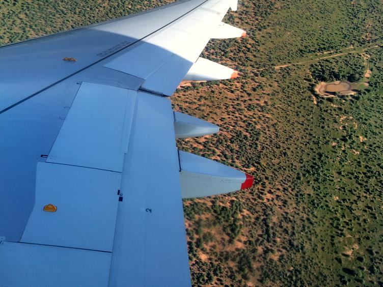 Anflug auf Namibia
